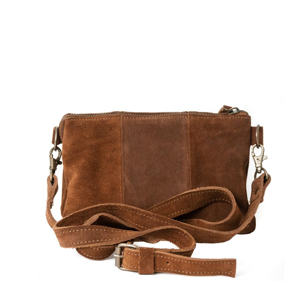 aca7c10a Zipper pocket i mørk brunt semsket skinn - Rosenvinge.no